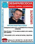 Almansa (Albacete) acoge este viernes una concentración de apoyo a familiares del desaparecido a principios de mes