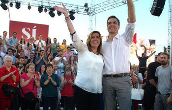 Pedro Sánchez y Susana Díaz, en Granada.