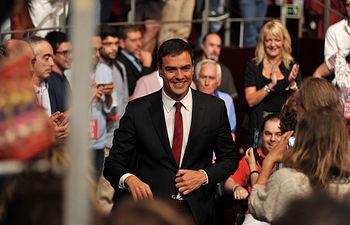 Pedro Sánchez en la presentación de su candidatura a la Presidencia del Gobierno