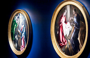 """Detalle de los óleos """"La Anunciación"""" (i) y """"La Natividad"""" (d), del Hospital de la Caridad de Illescas, incorporados a la exposición que el Museo Bozar de Bruselas dedica al Greco, con motivo de la Presidencia Española de la Unión Europea, y en la que participa el Gobierno de Castilla-La Mancha."""