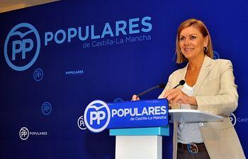 María Dolores Cospedal, durante la interparlamentaria celebrada en Toledo.