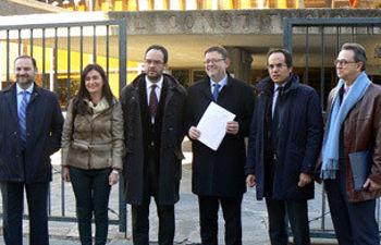 Los representantes del PSOE, en el TC
