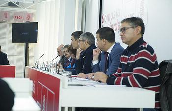 Pedro Sánchez, Cristina Narbona y Hugo Morán se reúnen con responsables en matería de política del agua, portavoces de parlamentos autonómicos y secretarios autonómicos, Ferraz