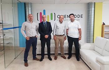 De izquierda a derecha: Antonio Barba, CEO de Onenodde; Javier Rosell Director general de Empresas, Competitividad e Internacionalización de la Junta de Comunidades de Castilla-La Mancha; Nicolás Merino director provincial de Economía, Empleo y Empresa de Albacete; y Javier Martínez COO de Onenodde