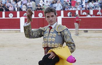 Diego Carretero con la oreja cortada este lunes, 15 de septiembre, en la Feria de Albacete.
