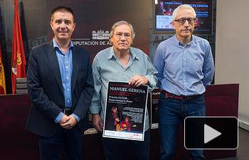 Santiago Cabañero, presidente de la Diputación Provincial de Albacete, Manuel Gerena, cantautor flamenco, y Manuel Lozano, director del Grupo Multimedia de Comunicación La Cerca