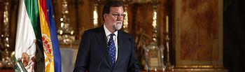 El presidente del Gobierno, Mariano Rajoy, durante su intervención, en el Oratorio de San Felipe Neri, donde se celebra el Foro Joly Andalucía.