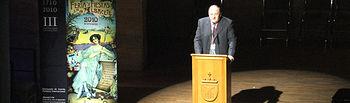 El cirujano jefe de la Plaza de Toros de Albacete, Pascual González Masegosa, durante el acto de inauguración del XXVIII Congreso Nacional de Cirugía Taurina celebrado en el Auditorio Municipal de Albacete.