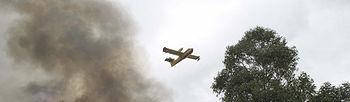 Avión actua contra el fuego (Foto EFE)