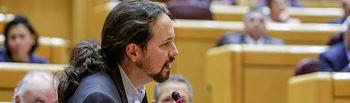 El vicepresidente segundo del Gobierno de España y ministro de Derechos Sociales y Agenda 2030, Pablo Iglesias, , durante la segunda sesión de control de esta legislatura en el Senado, en Madrid, a 25 de febrero de 2020.. Foto: Europa Press 2020