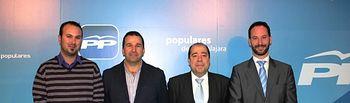 Pie de foto: De izda. a dcha. Benjamín Marián (Usanos), Juan Pedro Camarillo (Taracena), Mariano del Castillo (coordinador electoral del PP) y Luis García (Iriépal