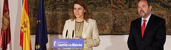 La presidenta regional y el delegado del Gobierno en Castilla La Mancha durante la rueda de prensa. Foto: JCCM.