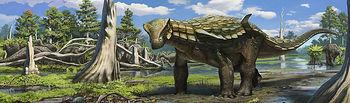 El yacimiento paleontológico de Lo Hueco de Fuentes (Cuenca). Reconstrucción por ordenador de imagenes con dinosaurios.