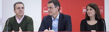 El secretario general Pedro Sánchez y el secretario de los socialistas madrileños José Manuel Franco encabezan las delegaciones de las ejecutivas federal y regional, en Coslada.
