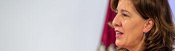 Toledo, 16 de octubre de 2019.- La consejera de Igualdad y portavoz del Gobierno regional, Blanca Fernández, informa, en el Palacio de Fuensalida, sobre los acuerdos aprobados por el Consejo de Gobierno. (Fotos: A. Pérez Herrera // JCCM).