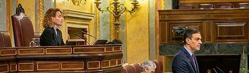 El presidente del Gobierno, Pedro Sánchez, comparece ante el Pleno de la Cámara para presentar la comunicación del Gobierno que acompaña al Real Decreto por el que se declara el estado de alarma ante la emergencia sanitaria del COVID19.