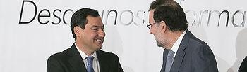 Mariano Rajoy presenta a Juanma Moreno en el desayuno de Europa Press