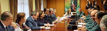 Comité de coordinación sobre Vialidad Invernal 2014-2015 en Castilla-La Mancha, celebrado este viernes en la Delegación del Gobierno en Castilla-La Mancha, y presidido por el delegado del Gobierno en Castilla-La Mancha, Jesús Labrador, y la consejera de Fomento de la JCCM, Marta García de la Calzada