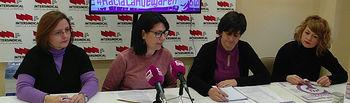 Pasión Pérez, Susana Cardona, Sara Merino y Sonia Blanco (Portavoces Área Mujer Intersindical-CLM en Rueda de Prensa)