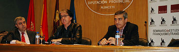 De izqda a dcha, Antonio Roncero, Julián Casanova y Manuel Ortiz