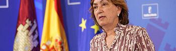 María Luisa Soriano, en la rueda de prensa para informar de los acuerdos adoptados en la reunión del Consejo de Gobierno.. Foto: JCCM.