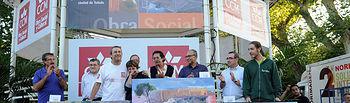 Los ganadores del V Certamen CCM de Pintura Rápida: Fernando García Medina (2º premio), Sonia Casero Lázaro (1º premio) y Juan Manuel Campos (3º premio)