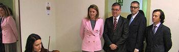 María Dolores Cospedal durante su visita al Conservarotio Superior de Música de Castilla-La Mancha.