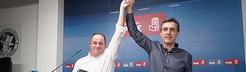 Emilio Sáez, nuevo secretario general de la Agrupación Local PSOE Albacete, junto al otro candidato, Francho Tierraseca