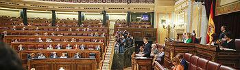 El presidente del Gobierno, Pedro Sánchez, durante su comparecencia en el Congreso para informar, con carácter previo, del Consejo Europeo que se celebrará en Bruselas los días 28 y 29 junio.