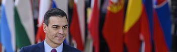 El presidente del Gobierno en funciones, Pedro Sánchez, a su llegada a la reunión del Consejo Europeo.