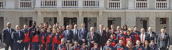 Presentación del Campeonato de Europa Senior de Karate con la presencia de la selección española; Antonio Espinós Ortueta, Presidente de la Federación Mundial de Karate; Antonio Moreno Marqueño, Presidente de la Real Federación Española