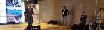 Marcial Marín durante la apertura de la Education Design Conference, un encuentro en el que se aborda la transformación digital en el marco de la educación, en la sede de Microsoft España.
