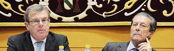 Miguel Ángel Collado y Federico Mayor Zaragoza, durante la inauguración de estas Jornadas, de izquierda a derecha.