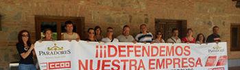 Concentración de trabajadores en el Parador de Toledo