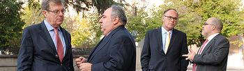Collado, Tirado, Sanz y Díaz Revorio antes de la inauguración de las jornadas.