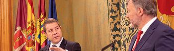 Cuenca, 27 de septiembre de 2019.- Rueda de prensa posterior a la reunión de trabajo del presidente de Castilla-La Mancha, Emiliano García-Page, con el alcalde de Cuenca, Darío Dolz. (Fotos: A. Pérez Herrera / JCCM).
