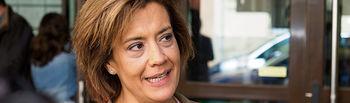 Rosario Velasco, candidata del VOX al Congreso por Albacete, atendía a los medios de comunicación después de ejercer su derecho al Voto.
