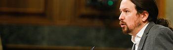 El líder del Grupo Parlamentario Unidas Podemos-ECP-GEC, Pablo Iglesias, interviene en el Pleno para argumentar la postura de su grupo respecto a la comparecencia de Pedro Sánchez.