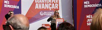 La candidata de Unidas Podemos al Parlamento Europeo, durante su intervención.
