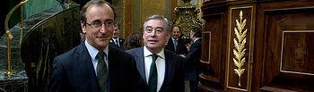 Alfonso Alonso y José Manuel Barreiro a su llegada al DEN 2014