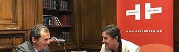 El ministro de Ciencia, Innovación y Universidades en funciones, Pedro Duque, y el director del Instituto Cervantes, Luis García Montero.