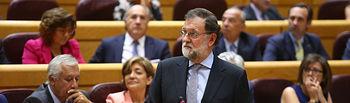 El jefe del Ejecutivo, Mariano Rajoy, durante una de sus intervenciones en la sesión de control al Gobierno celebrada en el Senado.