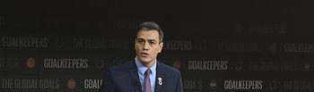 El presidente del Gobierno en funciones, Pedro Sánchez, durante su intervención en el acto Goalkeepers sobre lucha contra la desigualdad global, de la Fundación Bill y Melinda Gates.