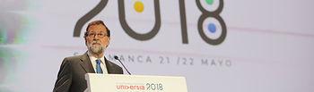 El presidente del Gobierno, Mariano Rajoy, durante su intervención en el acto de clausura del IV Encuentro Internacional de Rectores de Universia.