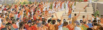 Parlamentarios en la Grecia antigua. Dibujo que muestra a unos parlamentarios hacia el siglo V. a C. ya en vías del origen de la Democracia (gobierno del pueblo) actual.