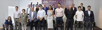 Foto de familia de los galardonados en los XVIII Premios Empresariales San Juan 2017.