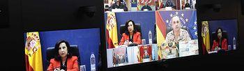 La ministra de Defensa felicita a los contingentes españoles desplazados en misiones de paz con motivo del 12 de octubre, día de la Fiesta Nacional.