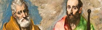 """""""San Pedro y San Pablo"""" es un cuadro del pintor español de origen griego, el Greco, pintado entre el 1595 y 1600 y expuesto actualmente en el Museo Nacional de Arte de Cataluña."""