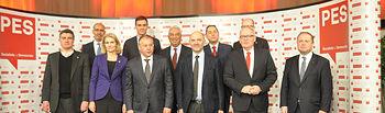 Pedro Sánchez, en la reunión de líderes del PES