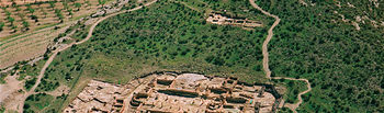 El Tolmo de Minateda dispone de una situación estratégica. En la imagen, vista aérea general del yacimiento.